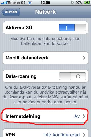 Guide: iPhone som 3G-modem/mobilt bredband - Internetdelning