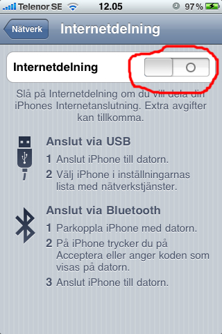 Guide: iPhone som 3G-modem/mobilt bredband - Aktivera Internetdelning