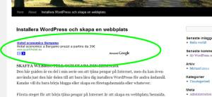 Google AdSense annonsenhet längst upp