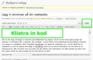 Redigera i HTML-läge och klistra in annonskoden från Google AdSense.