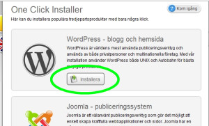 Välj att installera WordPress