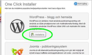 Välj att installera WordPress