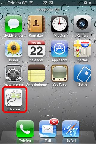 Så här fint blir det när din ikon sparas på en iPhone. Specialeffekterna med skuggor och speglingar lägger din iPhone själv in.